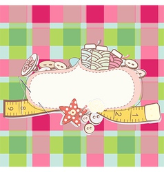 Pretty card with sewing accesories vector