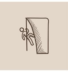 Rock climber sketch icon vector image