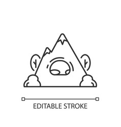 Rock shelter linear icon vector