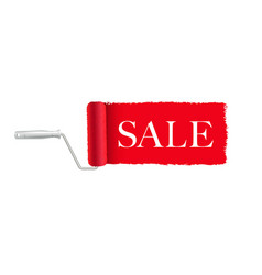 sale banner red paint roller and paint stroke vector image