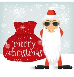 Santa Claus standing near Christmas bag vector image