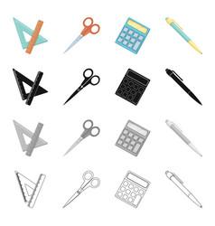 school accessories triangle ruler scissors pen vector image