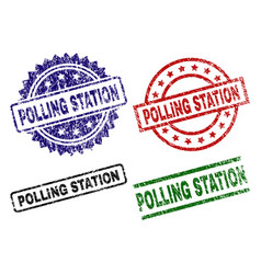 Scratched textured polling station seal stamps vector