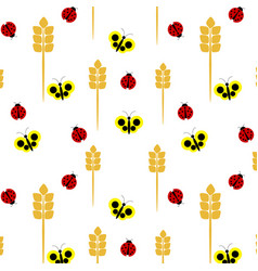 seamless pattern of ladybugs and butterflies vector image