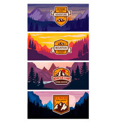 set banner templates with mountains design vector image
