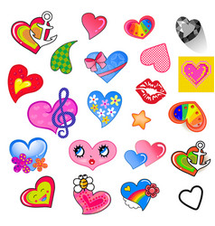 set comic different colored style heart vector image