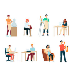 set people with artistic occupations cartoon vector image