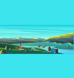 small town in mountains flat cartoon landscape vector image