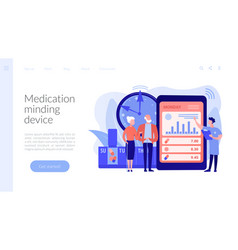 Smart pill boxes concept landing page vector