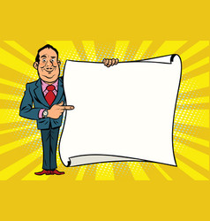 smiling businessman boss showing on the mockup vector image