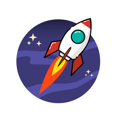 space rocket in flat style isolated on white vector image