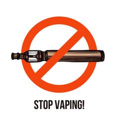 stop vaping sign smoking ban emblem vector image