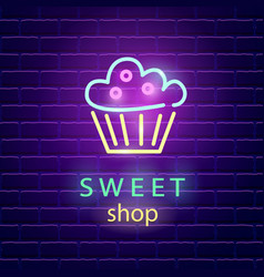 Sweet shop neon logo sign on dark brick wall vector