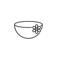 tea cup with flowers outline icon signs and vector image