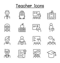 Teacher icon set in thin line style vector