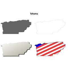 Tehama County California outline map set vector