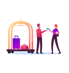 Tourist female character giving tips to doorman vector