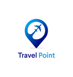 Travel point logo designs with airplane symbol vector