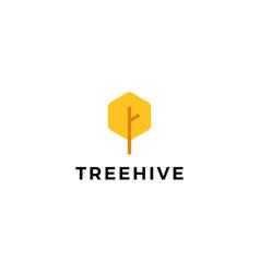 tree hive honey hexagon logo icon vector image