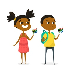 Two cartoon kids with the flags of South Africa vector