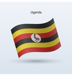 Uganda flag waving form vector image