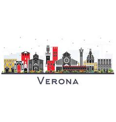 verona italy city skyline with color buildings vector image