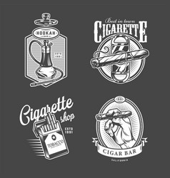 Vintage hookah and cigar bar logos vector