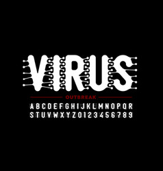 Virus infection style font vector