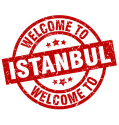 Welcome to istanbul red stamp vector