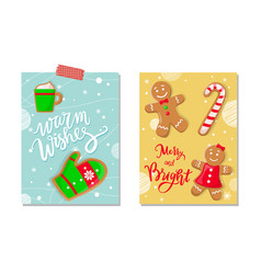 winter holiday merry and bright celebration poster vector image