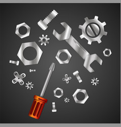 Wrench and screwdriver with nuts and bolts vector