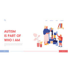 Young woman and little boy with autism syndrome vector