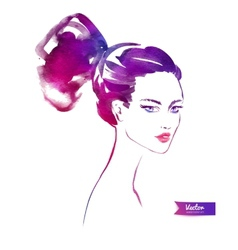 Young woman with modern hairstyle vector