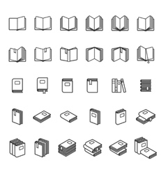 Book thin line icons vector