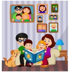 Cartoon read a story book in the living room vector image vector image