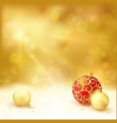 Golden Christmas design baubles light vector image