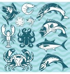 Set of freshwater and marine fish and shellfish vector