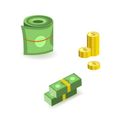 set of isometric bill money currency elements with vector image