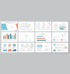 Set of orange and blue elements for multipurpose vector