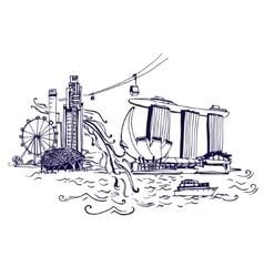 Singapore city skyline at Marina Bay vector image