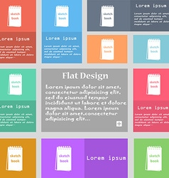 Sketchbook icon sign set of multicolored buttons vector
