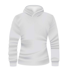 white hoodie front view mockup realistic style vector image