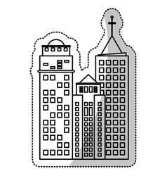 building facade construction cut line vector image