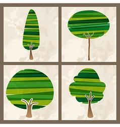 Green tree set vector image vector image
