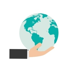hand holding earth globe and icon vector image