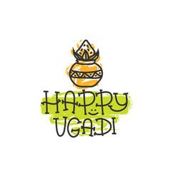 happy ugadi the hindu new year print for holiday vector image vector image