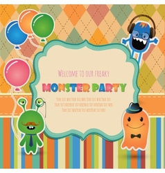 Monster party invitation card design vector image vector image