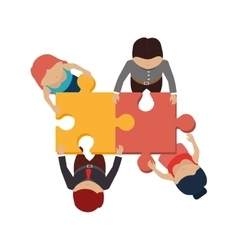 People with puzzle pieces game icon vector