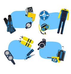 underwater diving stickers vector image vector image