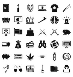 criminal virus icons set simple style vector image vector image